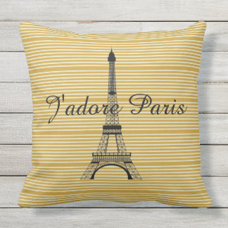 Ocre amarillo de J'adore París de la torre Eiffel Cojín Decorativo