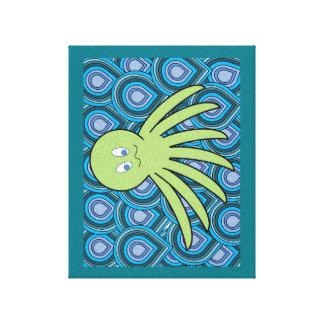 Octo en el mar verde claro impresión en lienzo