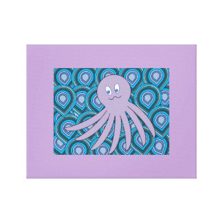 octo púrpura en un mar que remolina de azules y de lienzo