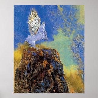 Odilon Redon Pegaso - simbolismo de la mitología Póster