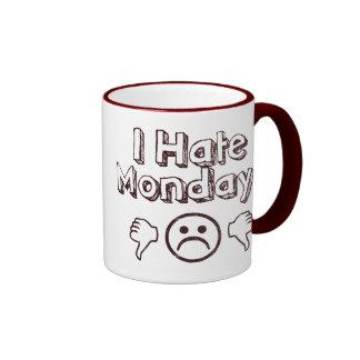 Odio lunes taza de dos colores