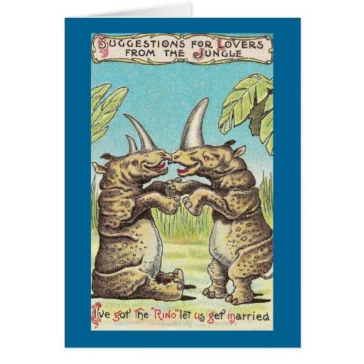 Oferta del rinoceronte de la boda tarjetas