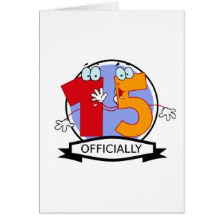 Oficialmente bandera de 15 cumpleaños tarjeta