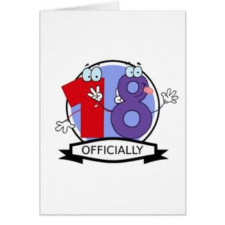 Oficialmente bandera de 18 cumpleaños tarjeta de felicitación
