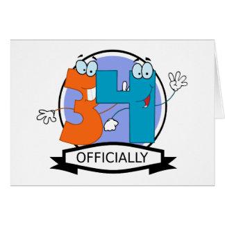 Oficialmente bandera de 34 cumpleaños tarjeta de felicitación
