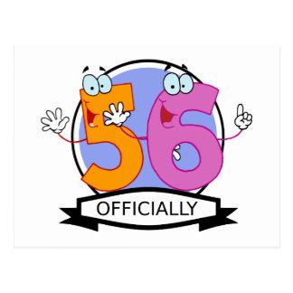 Oficialmente bandera de 56 cumpleaños postal