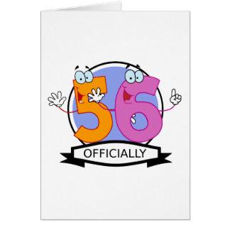 Oficialmente bandera de 56 cumpleaños tarjetón