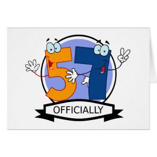 Oficialmente bandera de 57 cumpleaños tarjeta de felicitación