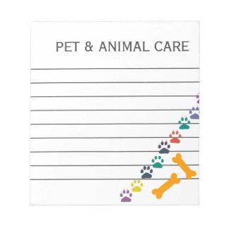 Oficina de negocios animal linda del cuidado de bloc de papel