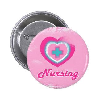 Oficio de enfermera rosado del corazón y de la Cru Chapa Redonda De 5 Cm