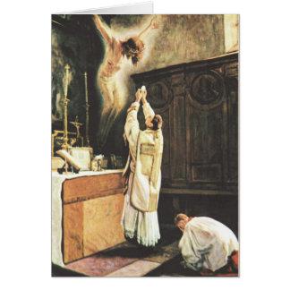 Ofrecimiento católico de la masa tarjeta