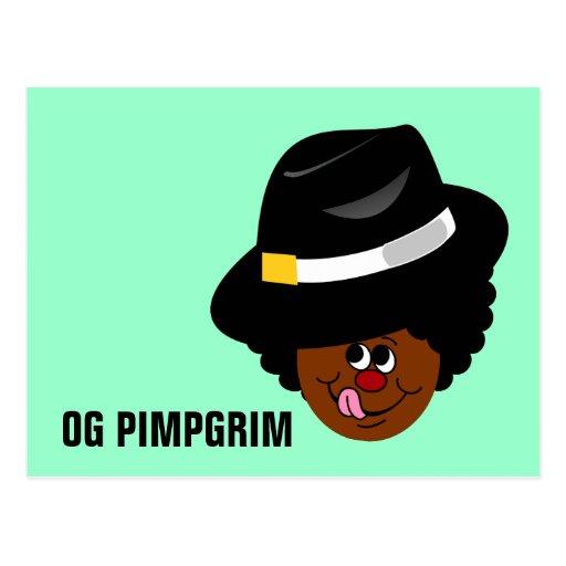 OG Pimpgrim: Peregrino original del chulo de Gangs Tarjeta Postal