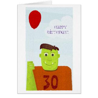Ogro del feliz cumpleaños texto editable tarjeton
