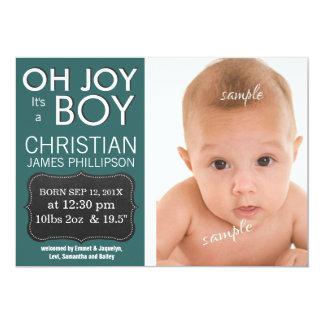 ¡Oh alegría es un MUCHACHO! Nuevo bebé Invitación 12,7 X 17,8 Cm