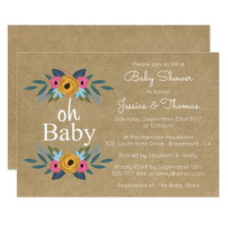 ¡Oh bebé! Fiesta de bienvenida al bebé floral Invitación 12,7 X 17,8 Cm