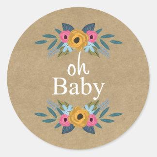 ¡Oh bebé! Fiesta de bienvenida al bebé floral Pegatina Redonda