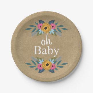 ¡Oh bebé! Fiesta de bienvenida al bebé floral Plato De Papel