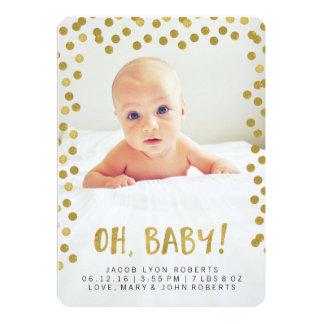 ¡Oh, bebé! Invitaciones modernas del nacimiento de Invitación 12,7 X 17,8 Cm