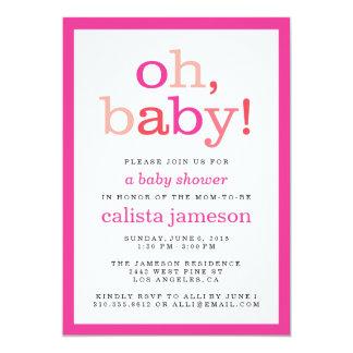 ¡Oh bebé! Invitaciones rosadas modernas de la Invitación 12,7 X 17,8 Cm