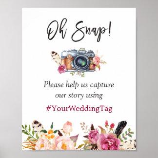 Oh boda floral bohemio rápido de Instagram Hashtag Póster