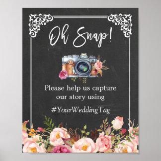 Oh boda floral de la cámara de la pizarra rápida póster