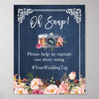Oh boda floral rápido de los azules marinos de póster