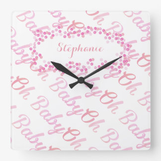 Oh chica femenino rosado personalizado bebé reloj cuadrado