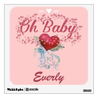 Oh el bebé personalizó el corazón con alas