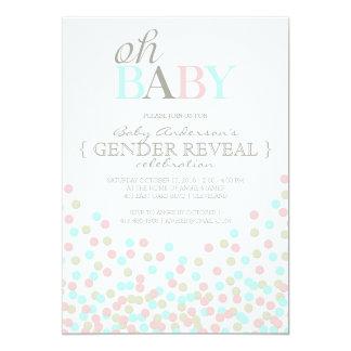 Oh el género del confeti del bebé revela el azul invitación 12,7 x 17,8 cm
