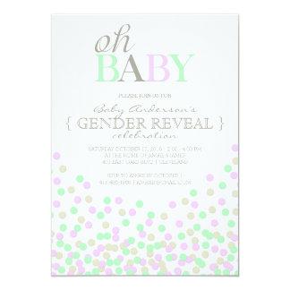 Oh el género del confeti del bebé revela la invitación 12,7 x 17,8 cm
