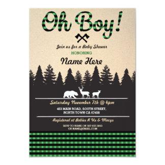 Oh el verde de la fiesta de bienvenida al bebé del invitación 12,7 x 17,8 cm
