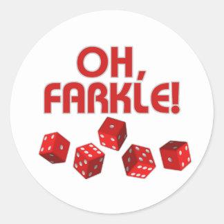 ¡Oh, Farkle! Pegatina Redonda