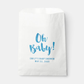 Oh fiesta de bienvenida al bebé de la acuarela de bolsa de papel
