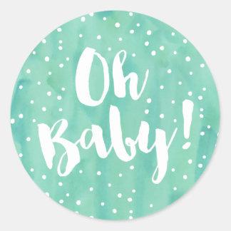 Oh fiesta de bienvenida al bebé de la acuarela de pegatina redonda