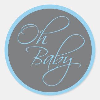 Oh fiesta de bienvenida al bebé elegante del bebé pegatina redonda