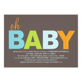 Oh fiesta de bienvenida al bebé moderna invitación 12,7 x 17,8 cm