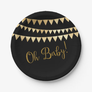 Oh fiesta de bienvenida al bebé negra del oro del platos de papel
