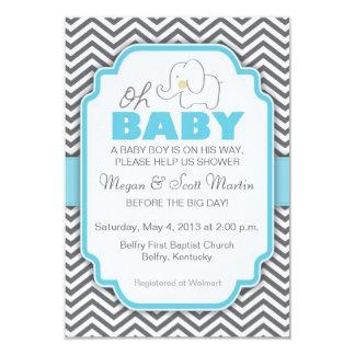 Oh la fiesta de bienvenida al bebé azul y gris del invitación 8,9 x 12,7 cm