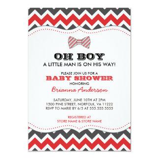 OH la fiesta de bienvenida al bebé de Bowtie Invitación 12,7 X 17,8 Cm