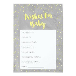 Oh la fiesta de bienvenida al bebé gris y amarilla invitación 12,7 x 17,8 cm