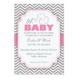 Oh la fiesta de bienvenida al bebé rosada y gris invitación 8,9 x 12,7 cm