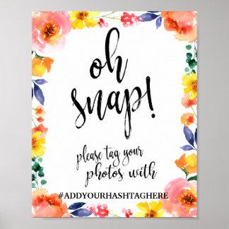 Oh muestra floral rápida del boda de Hashtag 8x10 Póster