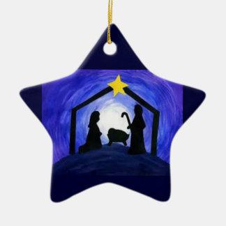 ¡Oh noche santa! - ornamento Adorno Navideño De Cerámica En Forma De Estrella