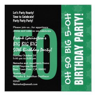 Oh oh 50.o verde y negro tan grandes del invitación 13,3 cm x 13,3cm