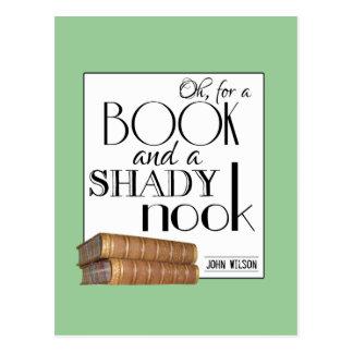 Oh para un libro y un escondrijo sombrío postal