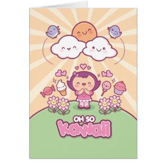 Oh tan tarjeta de felicitación de Kawaii