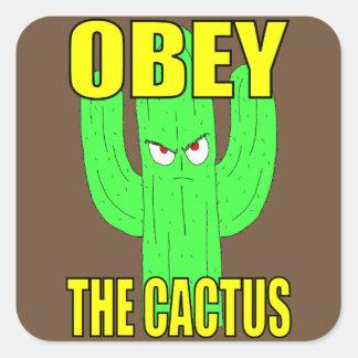 Ohbey el pegatina del cuadrado del cactus