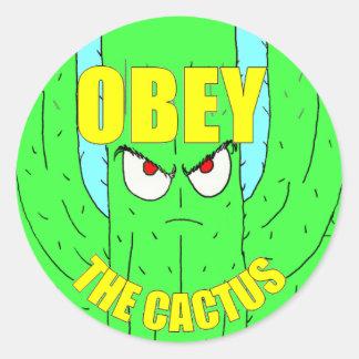 Ohbey el pegatina redondo del cactus