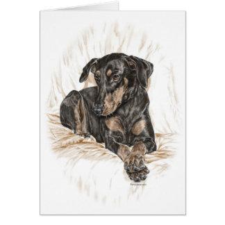 Oídos naturales del perro del Doberman Tarjeta De Felicitación