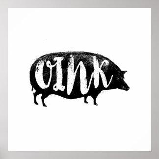 OINK cerdo divertido del vintage Póster